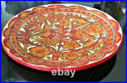Antique Mexican PLATTER Hand painted Red Clay Pottery Folk Art Red Birds 13 Dia