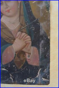 Antique Mexican Retablo Folk Art Painting Tin Blessed Mother 14x10 Crown Thorns
