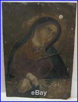 Antique Mexican Retablo Folk Art Painting on Tin - Dolorosa 10x14