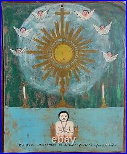 Antique Mexican Retablo Tin Painting Purgatory Santos Folk Art Spanish Colonial