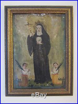 Antique Mexican Retablo or Icon Folk Painting on Tin Saint Rita St. Of Mothers