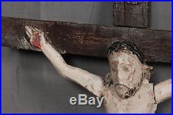 Antique Mexico Folk Art Wood carving Santo Crucifix Cross Jesus OLD PAINT Corpus