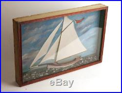 Antique Nautical Maritime Diorama Sail boat Ship Shadowbox Folk Art Painting