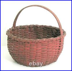 Antique New England red painted farm gathering basket. Folk art, country store