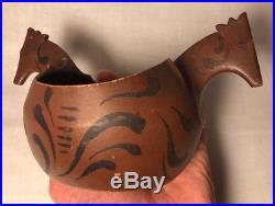 Antique Norwegian Kjenge Beer Bowl Hand Carved Painted Cup Folk Art Horse Wood