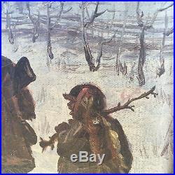 Antique Oil Painting Black Americana Rural Scene Amazing Signed Folk Art Piece