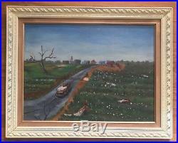 Antique Oil Painting-Fabulous Folk Art Landscape-Picking Cotton-Listed Artist