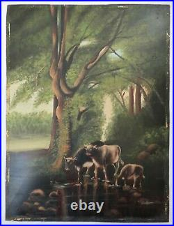 Antique Oil Painting Folk Art FARM COWS LANDSCAPE Country Primitive VICTORIAN