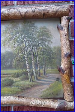 Antique Oil Painting LANDSCAPE Folk ART Birch Tree TWIG Frame M. REINUS c. 1900s