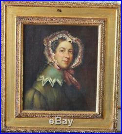 Antique Oil Painting Woman Portrait 19th c. Folk Art Lady American School 1800s