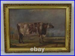 Antique Oil on Canvas Painting of a Short Horned Heifer Cow Signed J. Bateman