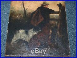 Antique Original American Victorian Folk Art Man with Dogs Painting Boston, MA