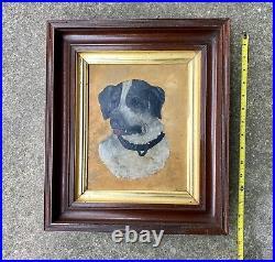 Antique Original DOG Oil Painting Primitive Naive Folk Art old frame signed