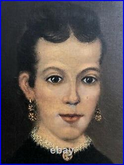 Antique Original Folk Art Oil on Canvas Painting Portrait of Woman with girl