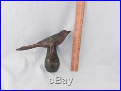 Antique PA Dutch Folk Art Primitive Song BirdHand Carved & Paint Wood Sculpture