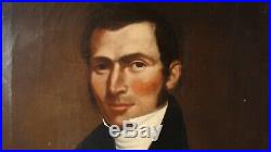 Antique PR 19C American Ancestral Folk Art Man & Wife Portrait Paintings