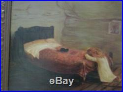 Antique Painting Folk Art Iconic Religious Statue Prayer Portrait Ornate Frame