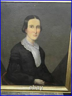 Antique Pair Folk Art Oil On Canvas Portraits Painting Husband & Wife Matching