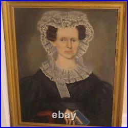 Antique Pair Of Folk Art Paintings By Erastus Salisbury Field Portrait Paintings