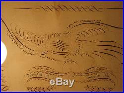 Antique Pre CIVIL War 1858 Granville Oh American Folk Art Painting Eagle Dove