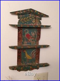 Antique Primitive AAFA Hand Painted Spoon Holder Vintage Original Folk Art Birds