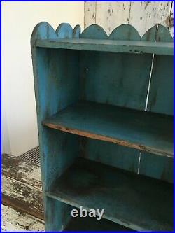 Antique Primitive Aafa Folk Art Wall Shelf Rack Original Blue Paint Scalloped