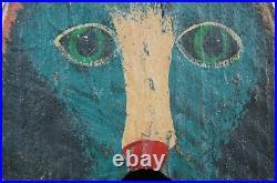 Antique Primitive Arts & Crafts Folk Art Painted Hanging Cat Birdhouse 7