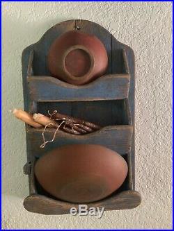 Antique Primitive BLUE Painted Folk Art Candle Wall Pocket Box