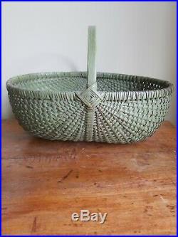 Antique Primitive Folk Art God's Eye Painted Gathering Basket