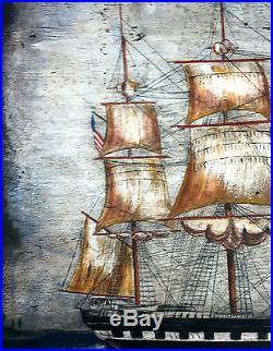 Antique Primitive Folk Art Maritime Nautical Whaling Ship Charles Morgan 1920