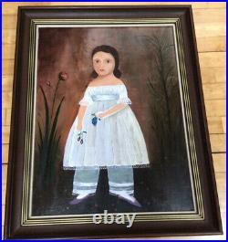 Antique Primitive Folk Art Oil Painting Portrait Young Sophisticated Girl