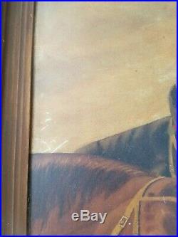 Antique Primitive Folk Art Painting of horses 1918 john richmond 14 x 21.5