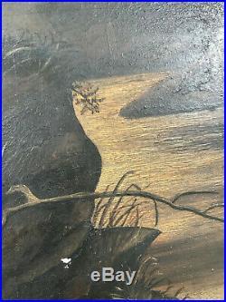 Antique Primitive Folk Art Still Life Deer Landscape Oil Painting On Board