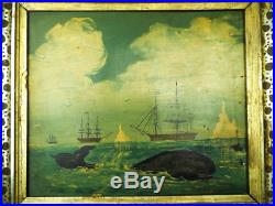 Antique Primitive Folk Art Whaling Oil on Panel Painting Signed by R Costa 1840s