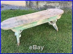 Antique Primitive Folk Art Wooden Bench Traces Of Green And White Paint 45 Wide