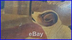 Antique Primitive Folk Art black cat puppies painting dated 1919 john richmond