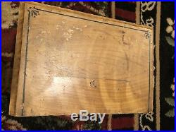 Antique- Primitive Hand Painted& Crafted Folk- Art Wooden Three Drawer Cubby