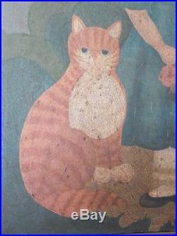 Antique Primitive Oil on Canvas Painting Folk Art Portrait Child & Cat Framed