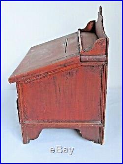 Antique Primitive Painted Wood Slant Top Writing Desk CounterTop Folk Art