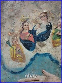 Antique Retablo Virgin Mary Jesus Painting Mexican Santos 19th century Folk art