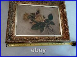 Antique Roses Oil Painting In Period Frame, Unsigned