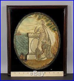 Antique Sailors Folk Art Silk Embroidery Painting Sailing Ship & Anchor, NR