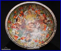 Antique Scandinavian Folk Art Painted Wooden Medieval Dancers Berry Bowl c. 1900