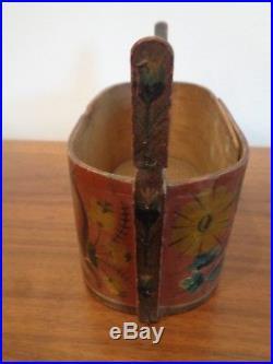 Antique Scandinavian Hand Painted, Covered Oval Box, Folk Art Box