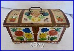Antique Scandinavian Norwegian Folk Art Hand Painted'os' Rosemaling Chest Box