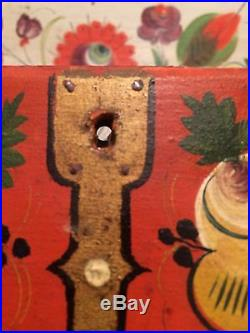 Antique Scandinavian Norwegian Folk Art Primitive Hand Painted Box Vintage