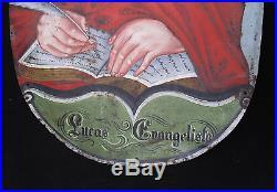 Antique Spanish Colonial Folk Art Painted Tin Icon St Luke / Lucas Evangelista