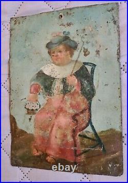 Antique Spanish Colonial Retablo Nino Atocha Christ Painting Santos 19th c. #1