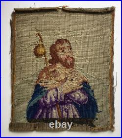 Antique St. James Religious Needlepoint Picture Textile Folk Art Needlework