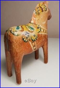 Antique Swedish Dala Horse. Folk Art Carved Sweden Hand Painted